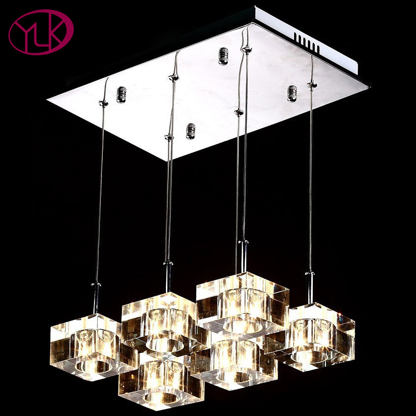 Free Shipping Modern Brief 12V G4 Crystal Cube Light Rectangle Crystal Pendant Lights With 6-lights For Dining Room/bar Counter modern led crystal brief dining room pendant light rectangle pendant light bar