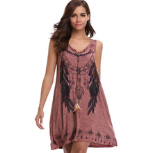2018 Blue/Red Bohemian Sleeveless Summer Beach Dress with Necklace Peacock Feather Print V-Neck Women Loose Tank Dresses Vestido
