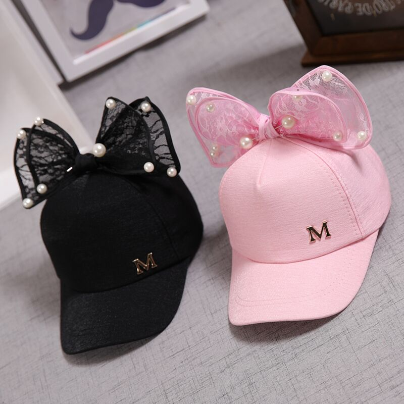 Cute Children Mesh Cap Spring Summer Children Baseball Cap Girls Snapback Hip Hop Caps Rabbit Ear Pearl Big Bow Kids Sun Hat