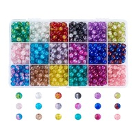 PandaHall 1Box 8mm Spray Painted Round Crackle Glass Crystal Loose Beads Sets for Jewelry Making DIY Findings Accessories Hot