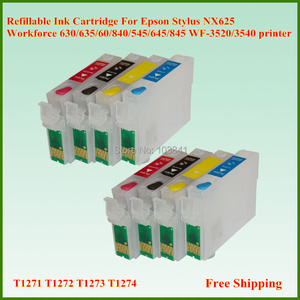 127 T1271 T1272 T1273 T1274 Refillable Ink Cartridge For Epson Workforce 630 635 840 545 645 845 WF-3520 WF-3540 Stylus NX625(China)