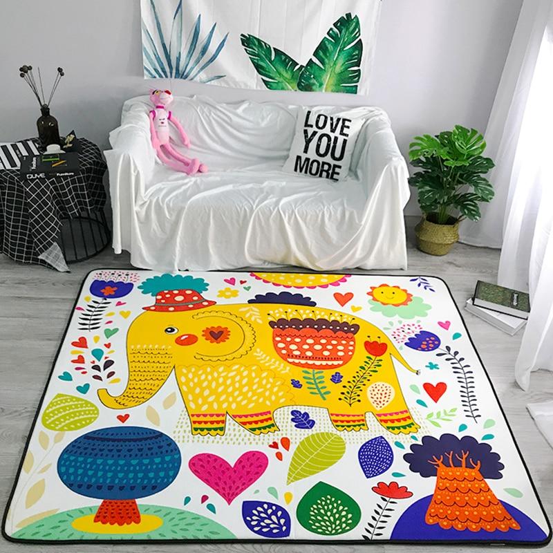 Bande dessinée motif coloré tapis éléphant pour salon tapis doux chambre d'enfants tapis mignons pour chambre ordinateur chaise tapis # sw