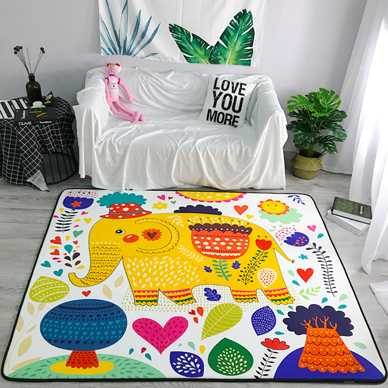 Cartoon Colorful Pattern Elephant Carpet For Living Room Soft Carpet Kids Room Cute Rugs For Bedroom Computer Chair Rug Sw Buy At The Price Of 54 60 In Aliexpress Com Imall Com