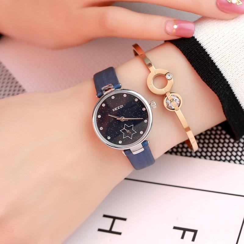 Korean style simple diamond stone female student woman big dial watch personality fashion waterproof ladies watch