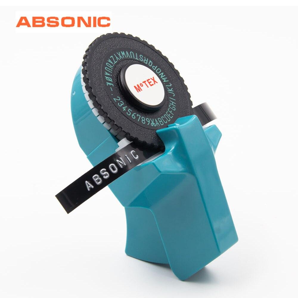 Absonic Original Motex E101 9mm Label Maker For Dymo Label Printer 3D Embossing Korean Digital Letter Typewriter Manual Labeling