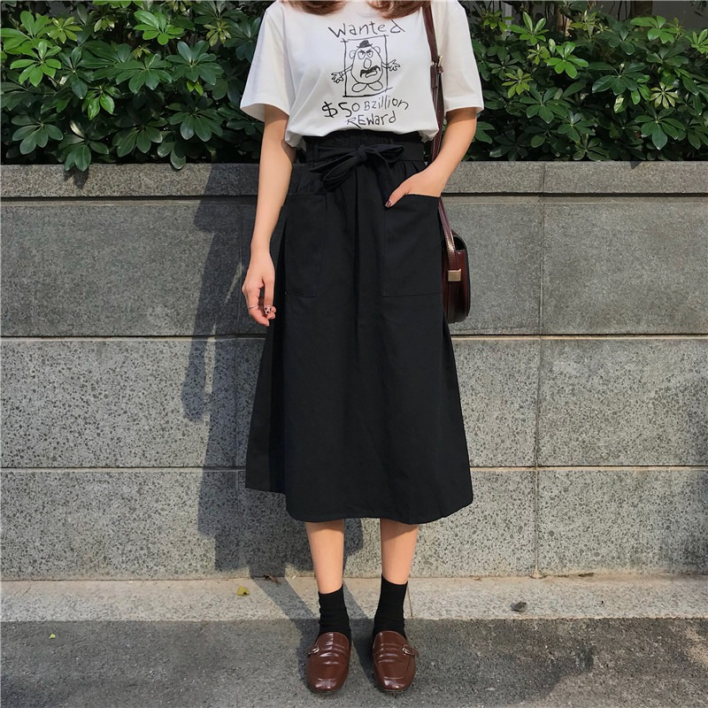 Summer Fashion Casual Women Solid Color Skirts High Waist A-Line Sashes Pocket Casual Midi Skirt For Women Preppy Style 2019