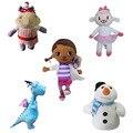 5pcs/set Cute Doc Mcstuffins Clinic Stuffed Plush Toy Soft Doll For Children Lambie sheep/dinosaur /hippo/snow man stuffed doll