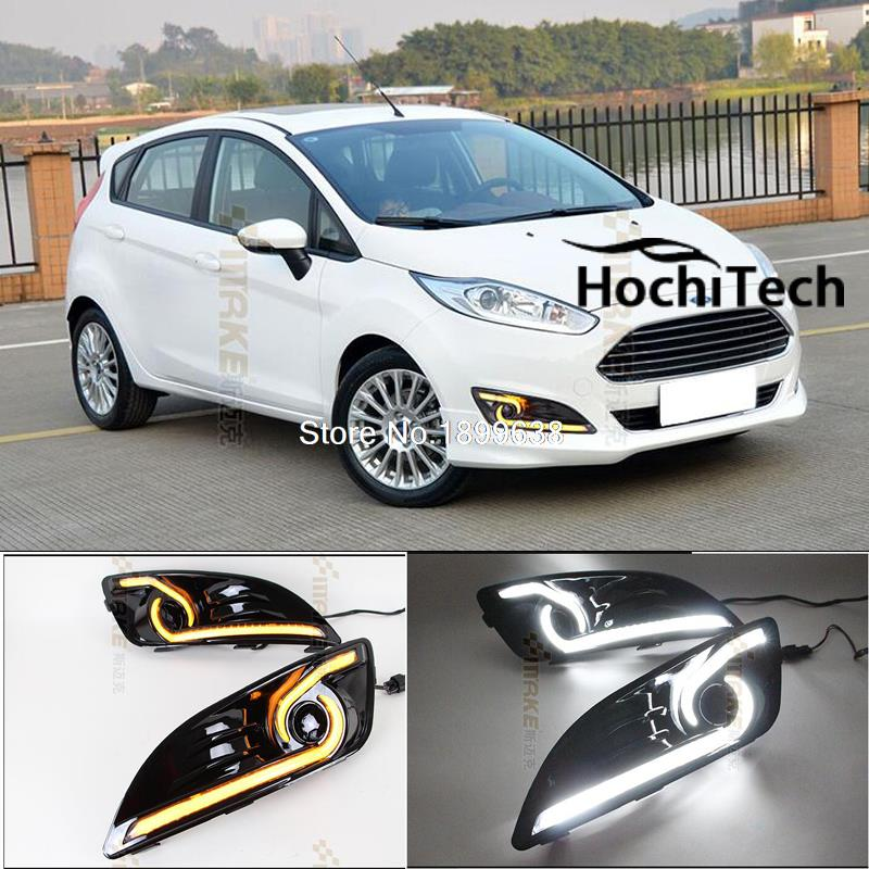 цена на led drl daytime running light daytime driving /running light, led fog lamp for ford fiesta 2014 2015 yellow turn signals