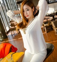 2013 Hot Korean Women S Girl Fashion Long Sleeve Shirt Coat V Collar Bronze Flat Studs