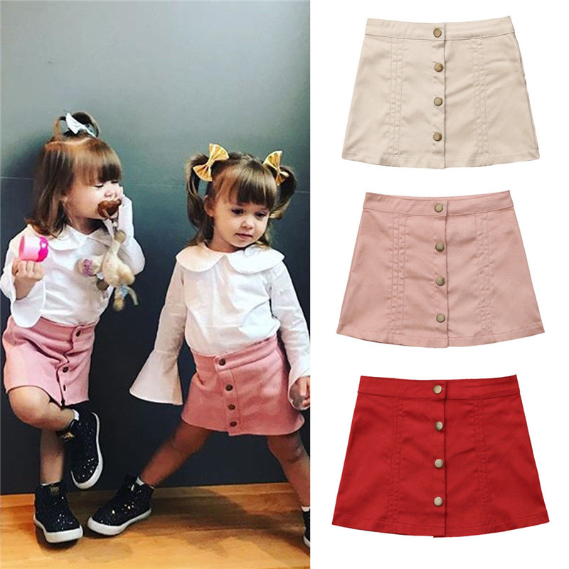 Infant Toddler Baby Girl Clothing Skirt Button A Line Skirt Party Slim Skirt Pri