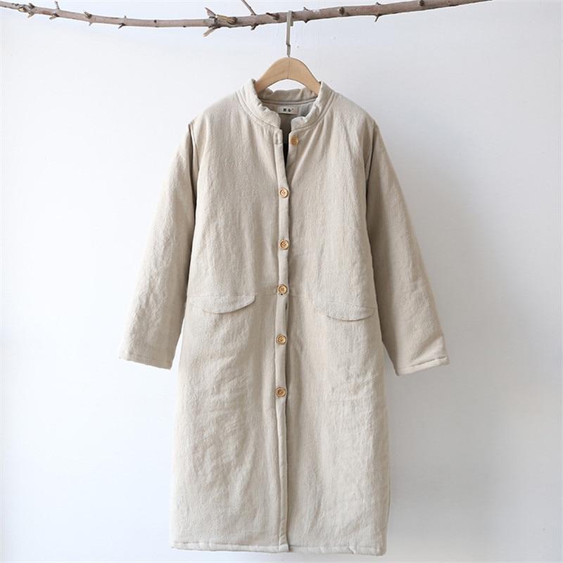 Woherb冬新しいファッション女性パーカーヴィンテージコットンリネンカジュアルロング暖かいコートソリッドスタンド襟パッド入りジャケット73683  グループ上の レディース衣服 からの パーカー の中 3