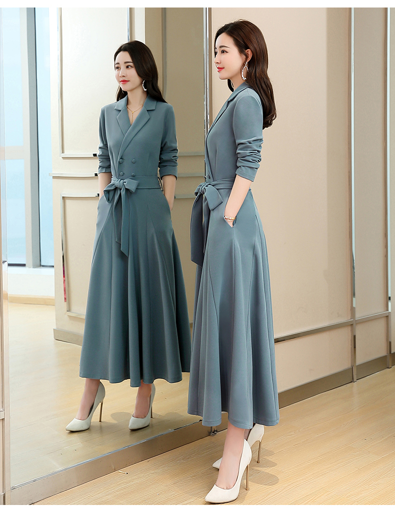 Spring and Autumn 2019 New Women's Dresses Korean Edition Long Sleeve Dresses Overlap Long Popular Temperament with Bottom 126