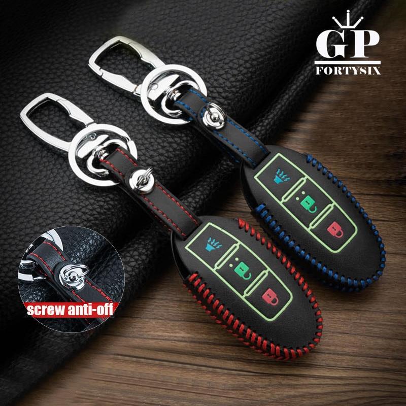 Luminous Leather Men Car Key Smart Case Cover Keychain For Nissan X-trail T31 Juke Note Qashqai Primera Versa Tiida Key Holder