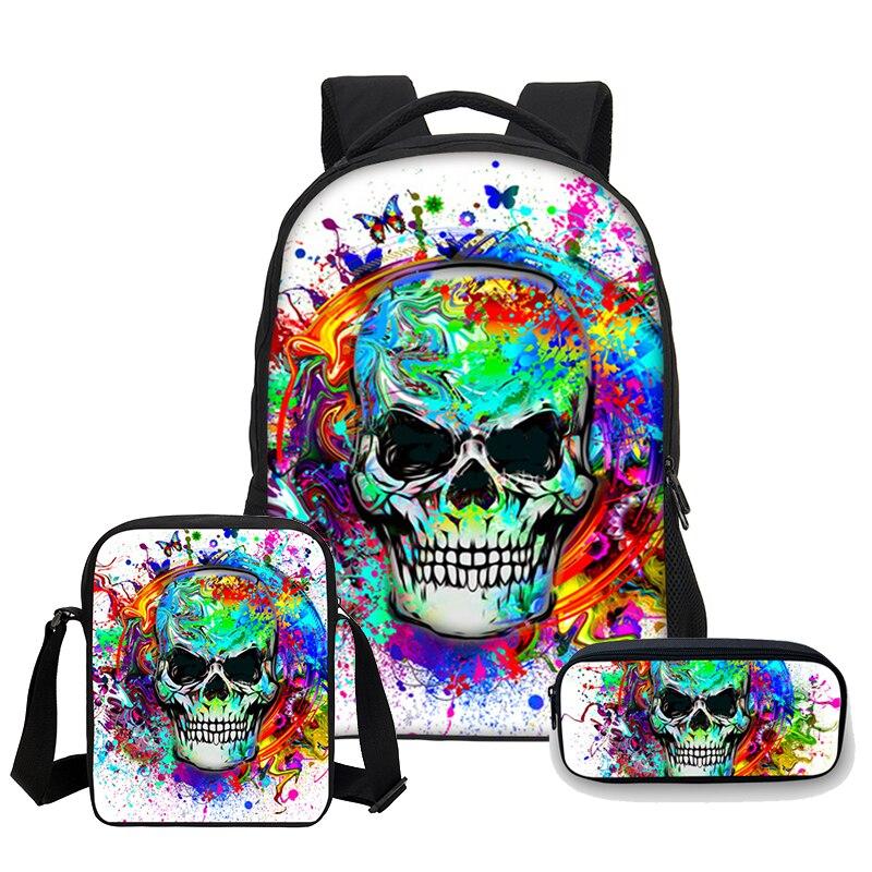VEEVANV 3 PCS/SET 2018 Gothic Death Skull Women Face 3D Print School bookbag Children travel backpack Casual Mochilas backbag