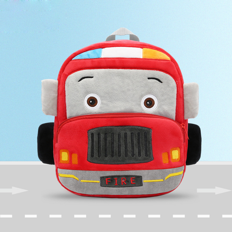 Cute Cartoon 3D Fire Truck 2-6 Years Old Kids School Bag Soft Plush A4 Size Capacity Gift For Toddler Children School Backpacks