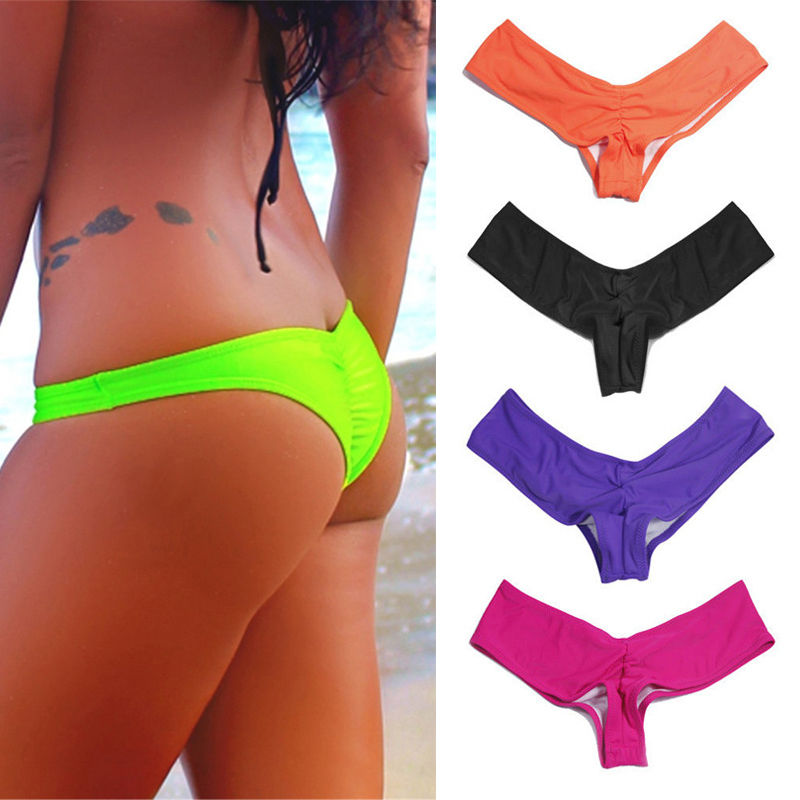 NEW Summer Sexy Women Brazilian Cheeky T-Back Cut Out Thong Bottom Bikini G-String Swimming Trunks Swimwear Solid Color