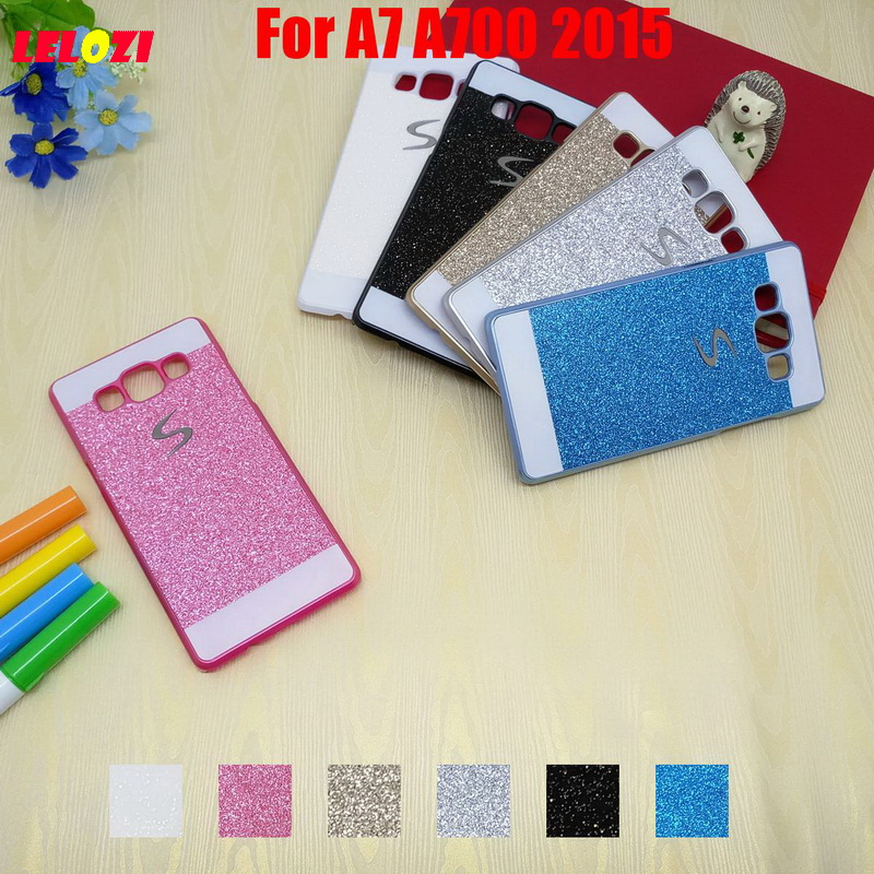 LELOZI Bling Shinning Glitter Hard PC Lady Capinha Etui Case Cover For Samsung Galaxy A7 A700 2015 Black Fashion New Vintage