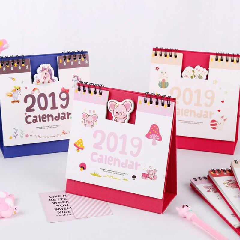 1 Pcs Cute 2019 Year Calendar Kawaii Unicorn Flamingo Pig Rabbit Desktop Table Paper Calendar Daily Planner Stationery Organizer Calendar Calendars, Planners & Cards