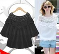 White,Black! XL,XXL,3XL,4XL,5XL! 2016 new plus big size top for women summer shirt casual lace embroidery woman blouse tunic
