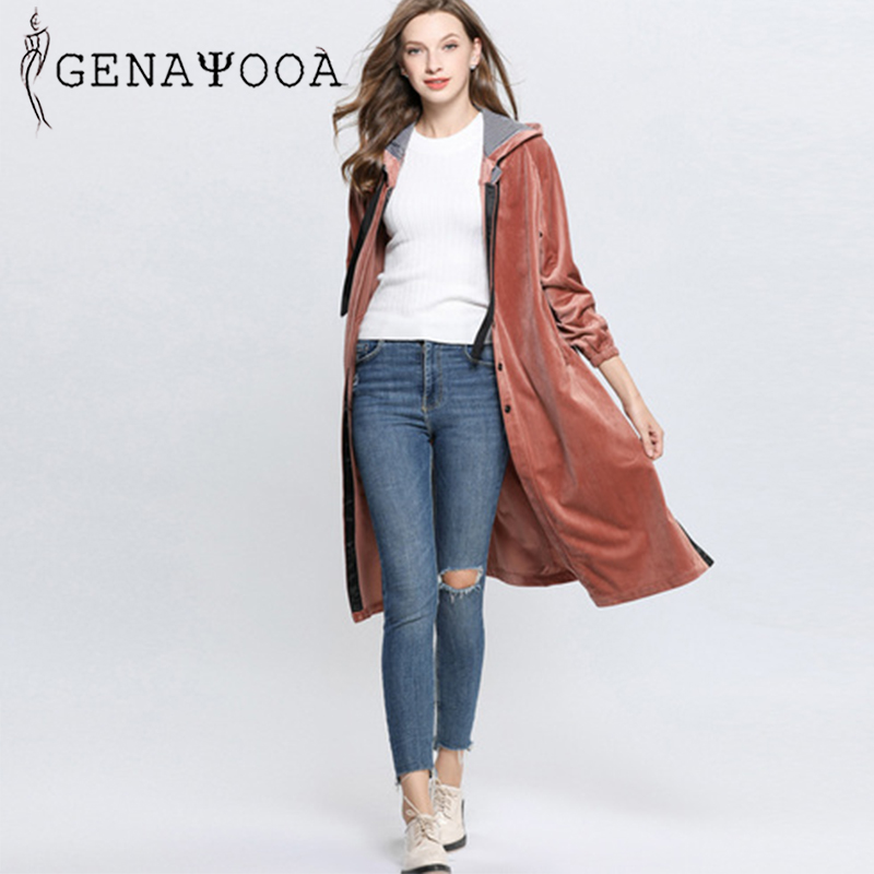 genayooa 2019 spring single breasted winter women hooded long vintage winter   trench   coat for women solid split   trench