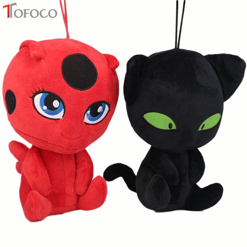 TOFOCO New Cartoon Kawaii Miraculous Ladybug and Cat Anime Plush Stuffed Toys For Children Dolls Model Toy Brinqued