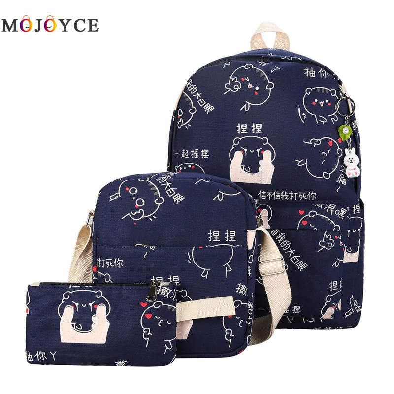 3pcs Teenage Girls School Backpacks Set Cut Bear Chinese Letters Printing Canvas Women Back Pack