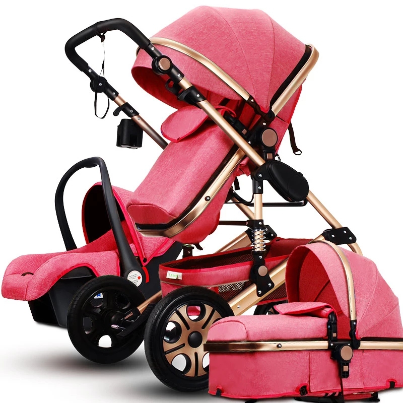 Luxury Fashion Baby Stroller 3 in 1 Foldable Infant Trolley,High Landscape Baby stroller Sit and Lie Baby Pushchair ,poussette ap 860mv