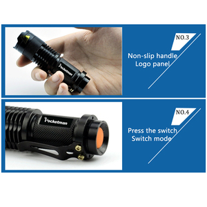 Image 5 - Lampes de poche tactiques puissantes lampes de Camping LED portables 3 Modes lanternes de lumière torche Zoomable auto défense 6 pcs/Lot z50