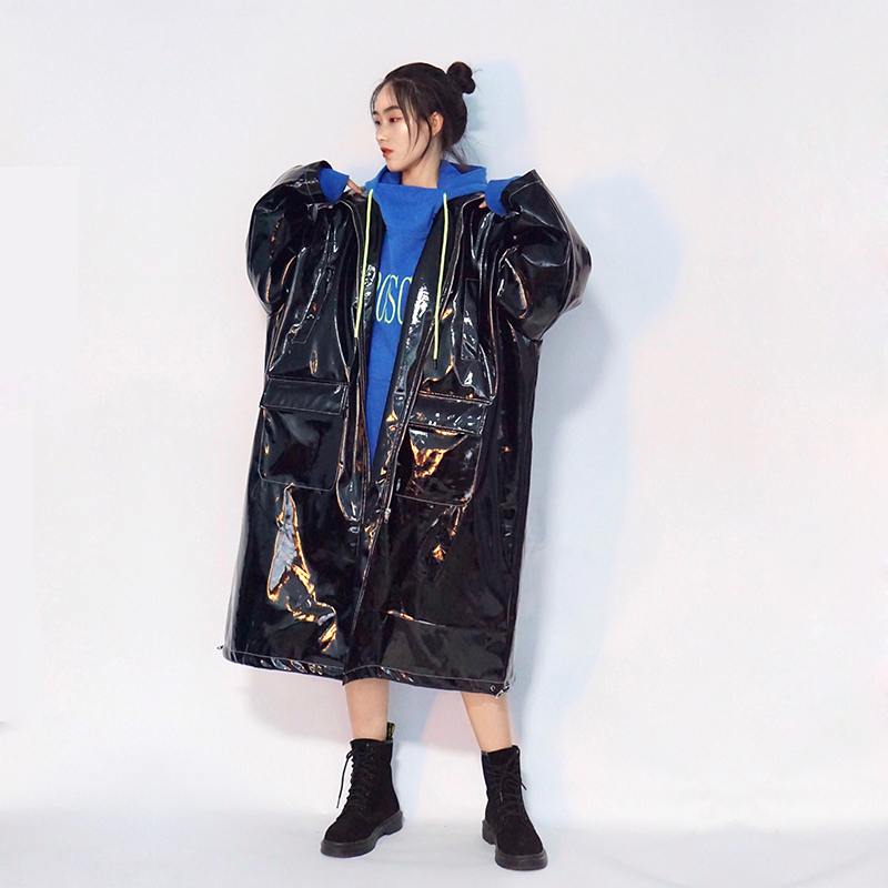 Womens Patent   Leather   Oversize Loose Long Trench Outwear Overcoat Coat One Free Size