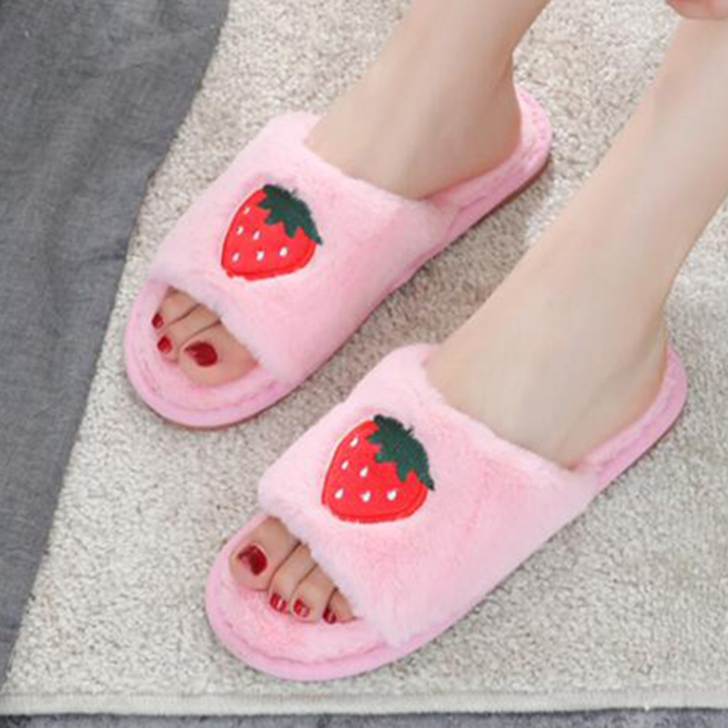Women Fruit Plush Slippers Winter Shoes Flat Sweet Home Slippers Woman Indoor Shoes Fur Warm Soft Slip On Female Slipper s132