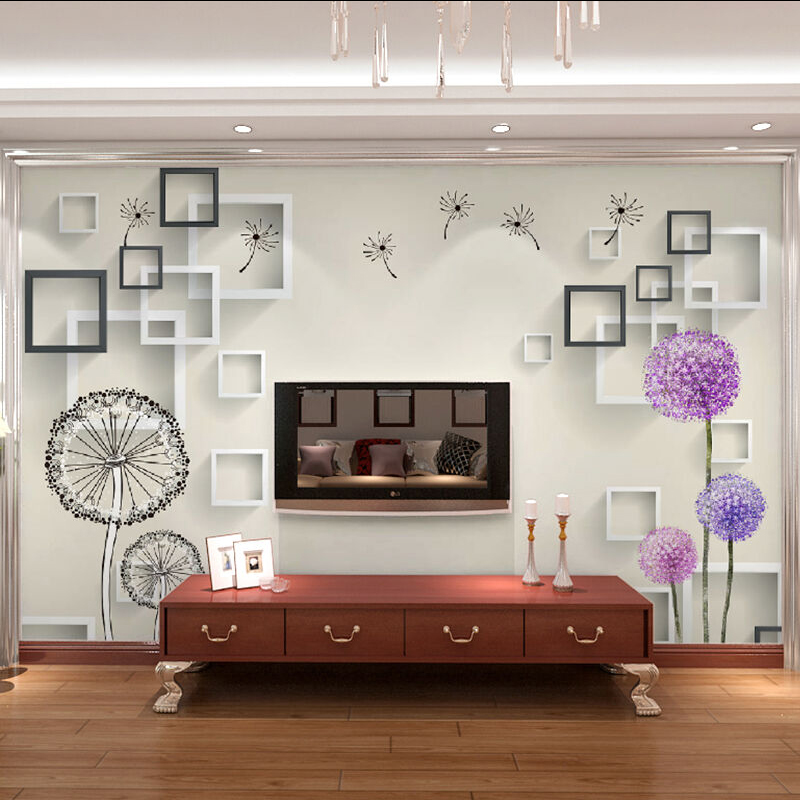Factory Custom Photo Wallpaper Mural Wall Sticker Modern minimalist style Dandelion 3D TV Wall wallpaper for walls 3 d black dandelion wall sticker wallpaper page 3