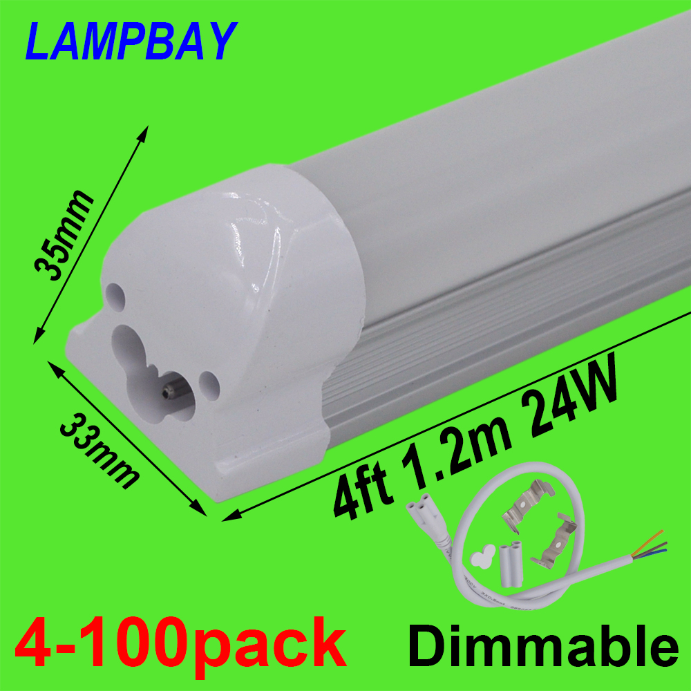 4-100pcs Dimmable LED Tube Light 4ft 1.2m 48 20W 24W T8 Integrated Bulb Fixture Dimming Lamp Linear Bar Lighting 110V 220V 277V 4 pack free shipping t5 integrated led tube lights 5ft 150cm 24w lamp fixture with accessory milky clear cover 85 277v