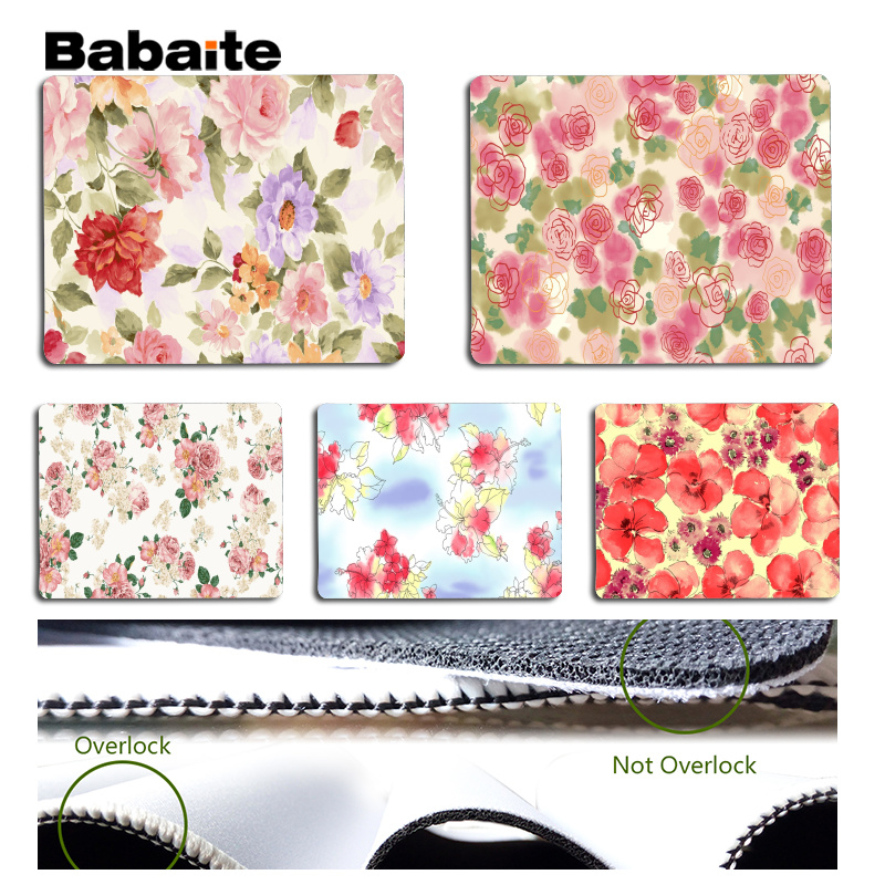 Babaite Boy Gift Pad Flowers background Large Mouse pad PC Computer mat Size for 18x22cm 25x29cm Rubber Mousemats