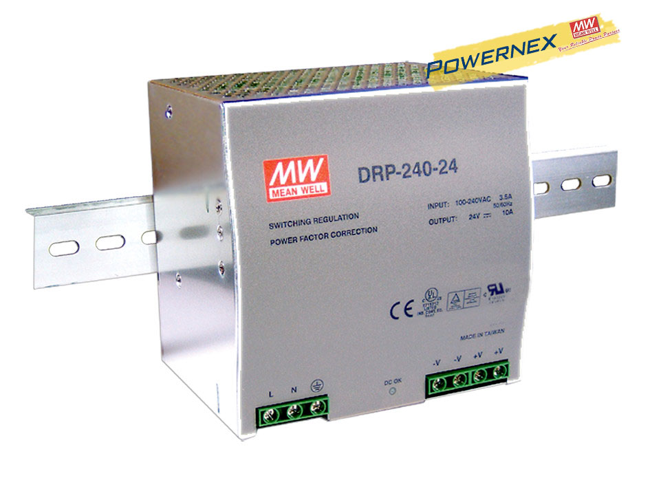 [PowerNex] MEAN WELL original DRP 240 24 24V 10A meanwell DRP 240 24V 240W Single Output Industrial DIN RAIL Power Supply
