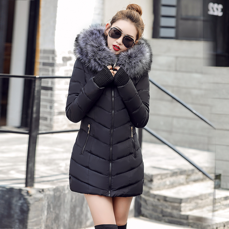 Jacket Coat Hoodie Fur-Collar Long Parkas Women's Warm Cotton Casual Female S-3XL
