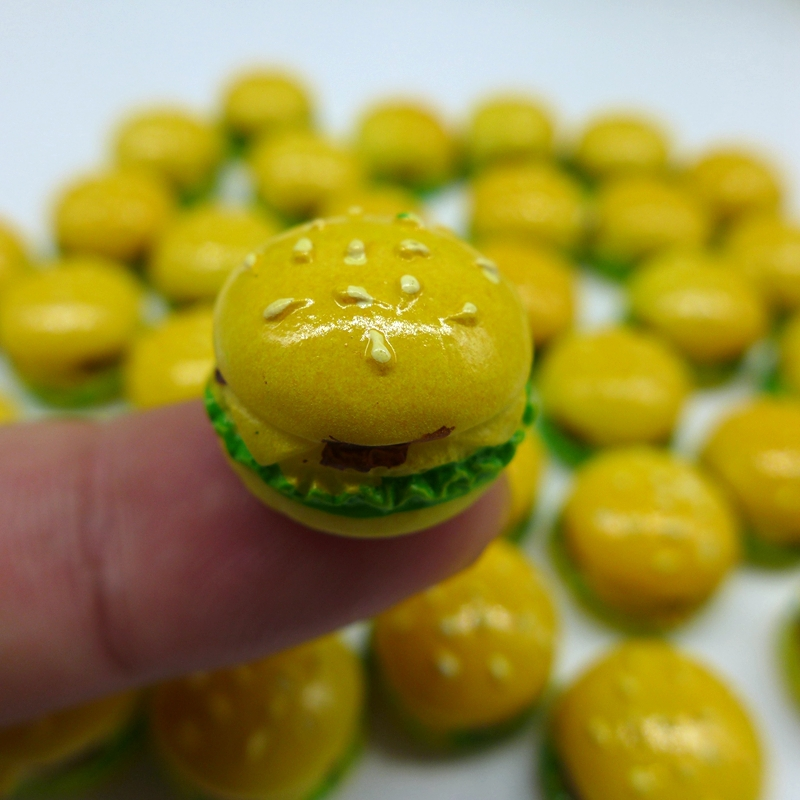 17*12 Free Shipping!Resin Cute Hamburger,Resin FlatBack Cabochon for Decoration, DIY,Simulation food