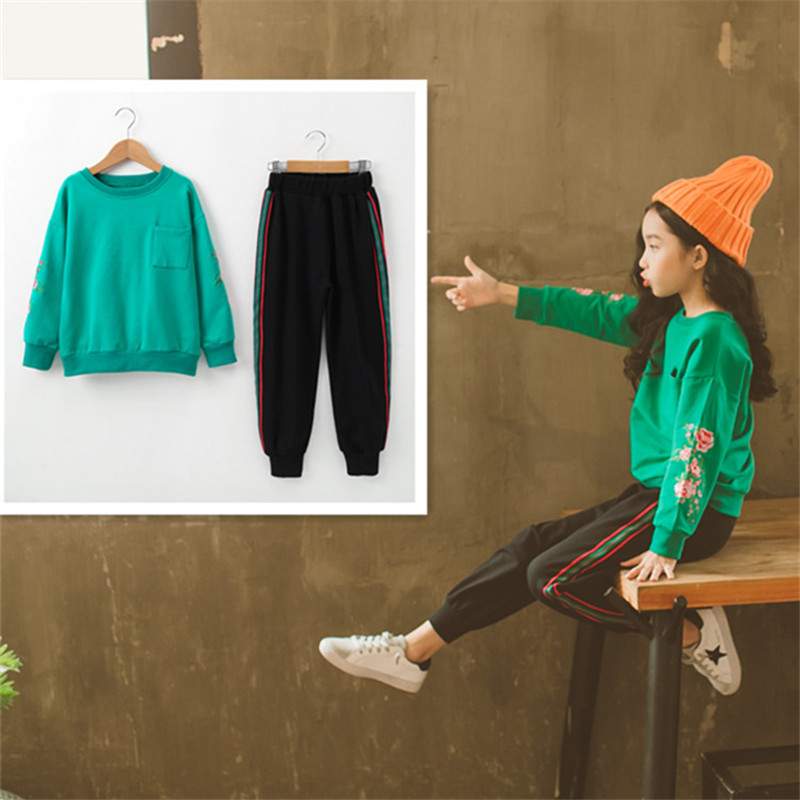 fc6195fd5 ... popular conjunto para Niñas Grandes niños deporte traje de manga larga  bordado chaqueta + Pantalones Niña niño ropa conjuntos cls119US   31.30 Pieza 2018 ...