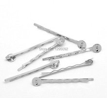 50Pcs Silver Tone Bobby Hair Clips Pins With Pad Jewelry Findings Charms Wholesale 5×0.8cm