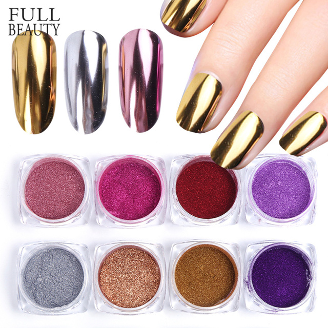 Espejo uñas arte brillo polvo holográfico metálico oro rosa plata polvo lentejuelas UV Gel uñas cromo pigmento decoración CHC/ ASX