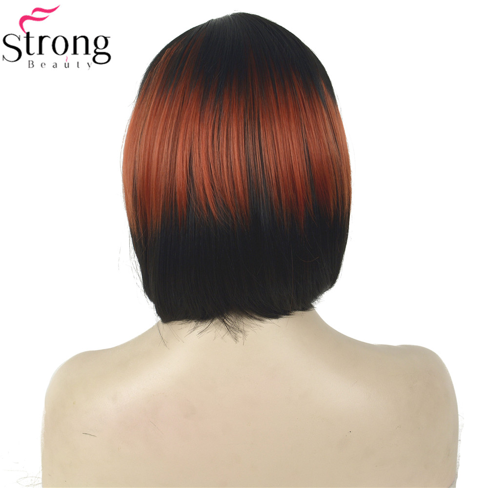 Image 4 - StrongBeauty Cosplay Wig Red/Black Mix Neat Bang Bob Haircut Womens Synthetic Wighaircuts womenwig redwig wig -
