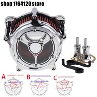 Мотоцикл ясность воздушный фильтр комплект воздухозаборника хром для Harley Sportster Dyna Touring Street Glide Softail 00 18