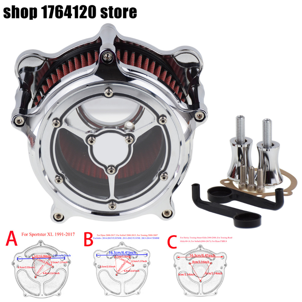 Air Cleaner Intake Filter All Chrome For Harley Xl Sportster 04-19 Touring Street Glide Road Glide 00-16 Softail Dyna Fxdls 17 Automobiles & Motorcycles