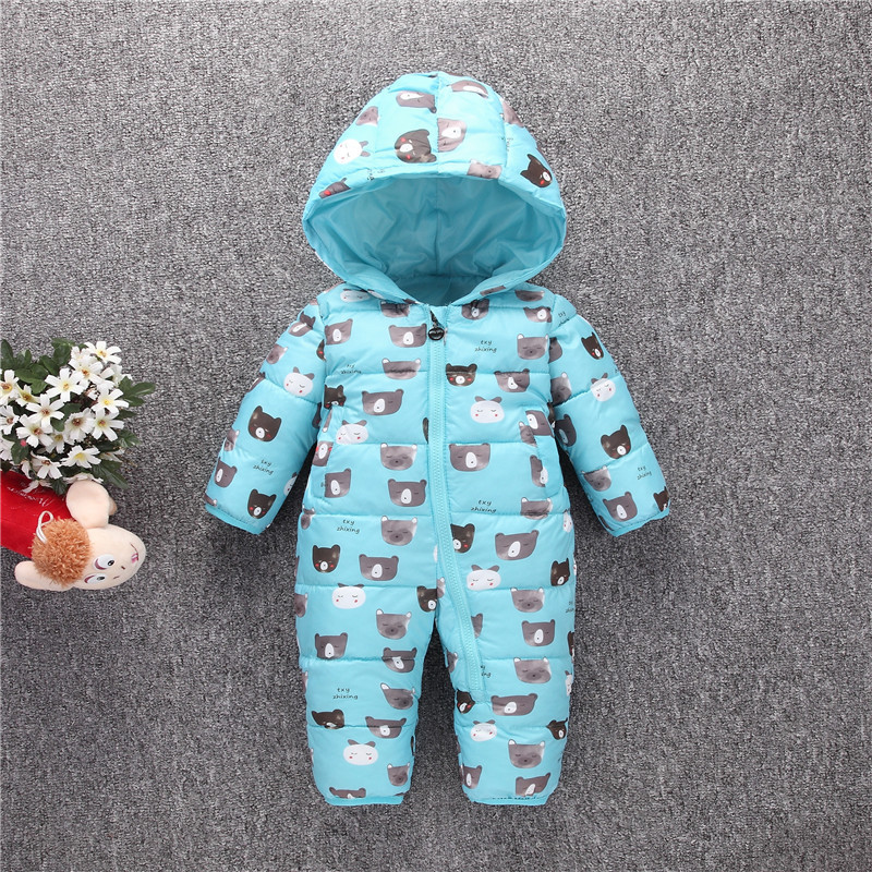 Winter baby warm feather cotton rompers girls boys thicking clothes fashion infant hooded cartoon jumpers kids outwear 17S907