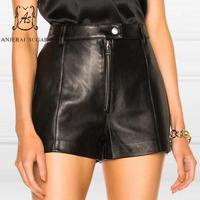 Весенние летние шорты для женщин овчины шорты из натуральной кожи Высокая талия молния пуговицы короткие feminino черные пикантные свободные г