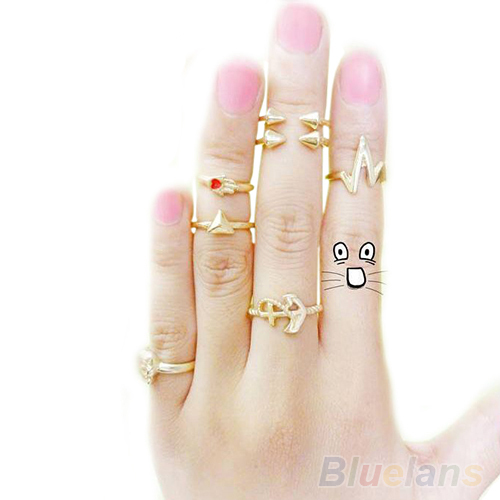 7Pcs set Fashion Cute Skull Anchor Gold Cut Knuckle Ring