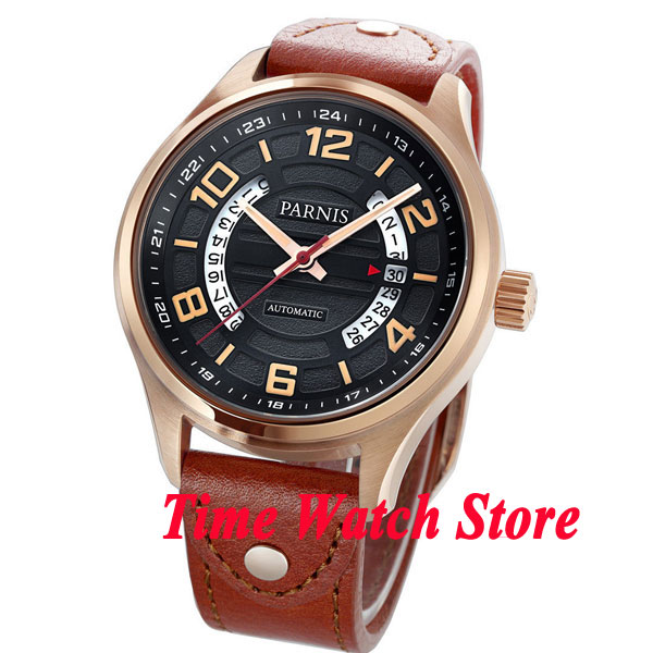 Parnis 43mm black dial date display sapphire glass golden case MIYOTA Automatic mens watch 377 38mm parnis golden dial sapphire glass miyota automatic mens watch