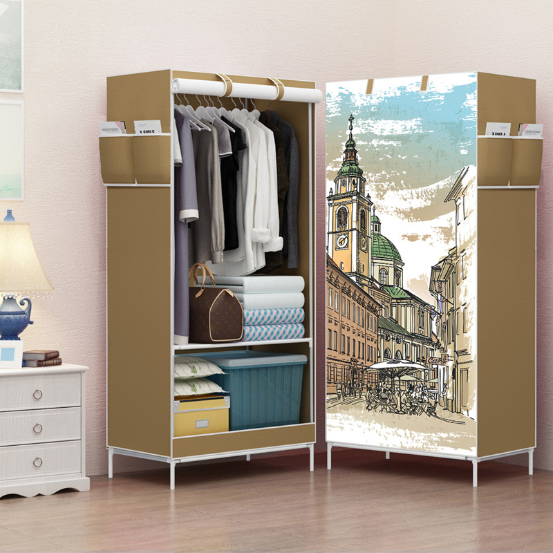 Multi-function Wardrobe Folding Cloth Closet Cartoon Clothing Storage Cabinet DIY Reinforcement Small Closet Furniture