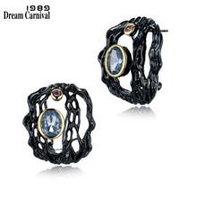 DreamCarnival 1989 Hollow Light Blue Zirconia Stud Earrings for Women Black Gold Color Vintage Gothic Green Pendientes Orecchini