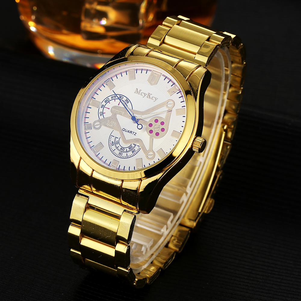 Mcykcy Brand Gold Stainless Steel Famous Quartz Wristwatch Leather Men New White Watch for Men Luxury Casual Clock Watches mcykcy new famous brand casual quartz watch men gold stainless steel fashion dress watches relogio masculino unisex clock hot