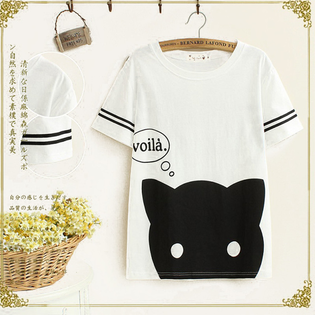2017 New Summer Casual Sweet T Shirt Women Cartoon Cat Print Letters Cotton  Short Sleeve Cute
